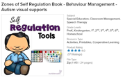 Zones of Self Regulation Book Visual Support